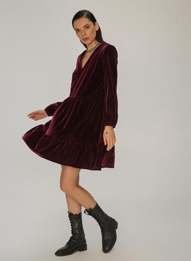 NGSTYLE NGSTYLE Kadın Örme Kadife Balon Kollu Elbise Bordo